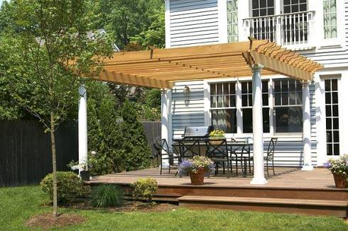 Platform Deck with Pergola by Archadeck