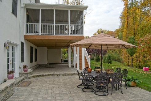 Screened in Deck, Under Deck Ceiling for Patio Shade and Outdoor Furniture  with Umbrella, Project by Archadeck