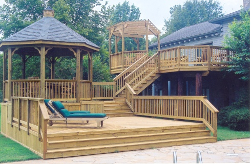 Wood Deck with Pergola and Gazebo for Backyard Shade by Archadeck