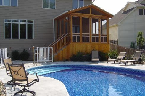 Attached Screened Porch for Backyard Pool by Archadeck