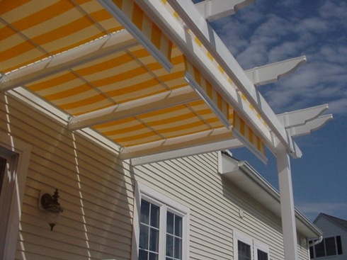 Brightly Colored Pergola Awning for Shade, by Archadeck