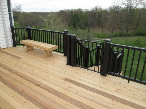 Deck with Built In Lighting, Benches and Security Gate, by Archadeck, St. Louis Mo