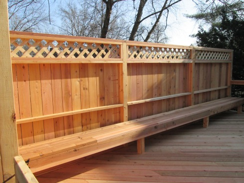 Deck with Privacy Railing, Built in Bench with Drink Ledge, St. Louis Mo, by Archadeck