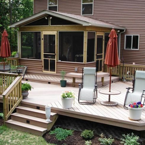 Elevated Screened In Deck with Level Change by Archadeck