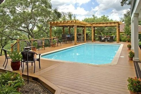 Large Custom Double Pergola for Backyard Pool by Archadeck