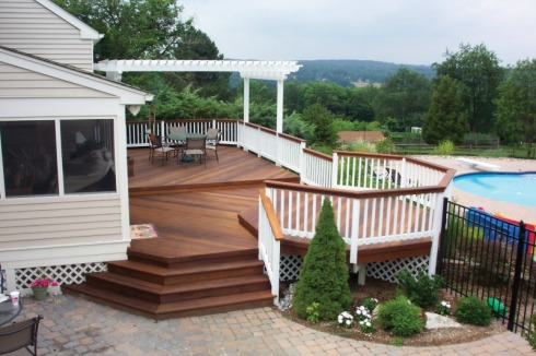 Multilevel Deck and Partial Pergola with Backyard Pool, by Archadeck