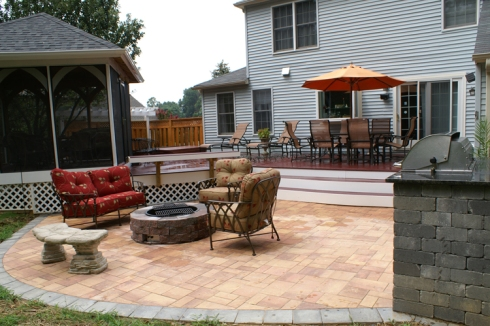 Outdoor Living Space with Deck, Gazebo, Patio, Outdoor Kitchen and Fire Pit, Project by Archadeck