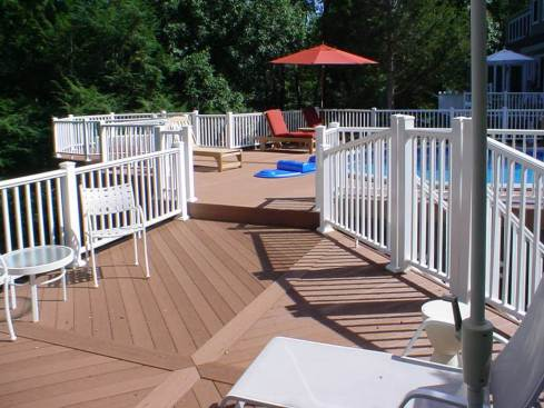 Pool Deck with Composite Decking, Rails and Decorative Inlay, by Archadeck