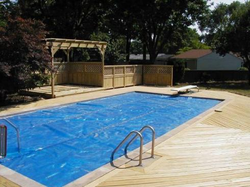 Pressure Treated Wood Deck with Shade and Privacy for Backyard Pool, by Archadeck