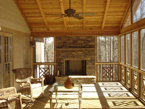 Screened Porch with Decorative Inserts for Rails, by Archadeck