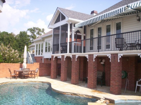 Second Story Deck and Porch Designed for Backyard Swimming Pool, by Archadeck