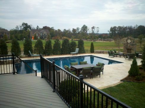 Second Story Deck with Backyard Pool, by Archadeck