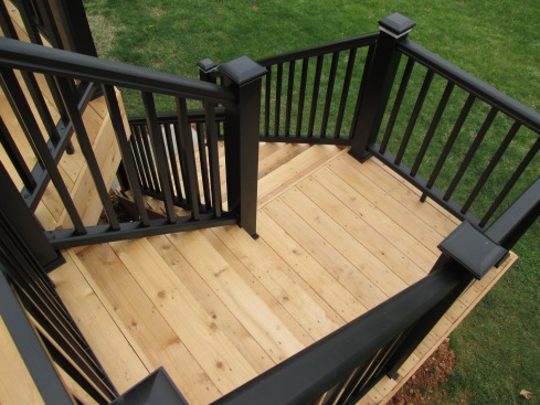 Two Story Deck with Safety Gate and Lighting, by Archadeck in St. Louis Mo