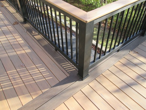 Two Tone Deck Floor, Two Tone Deck Rail and Metal Balusters, Project by Archadeck in St. Louis Mo