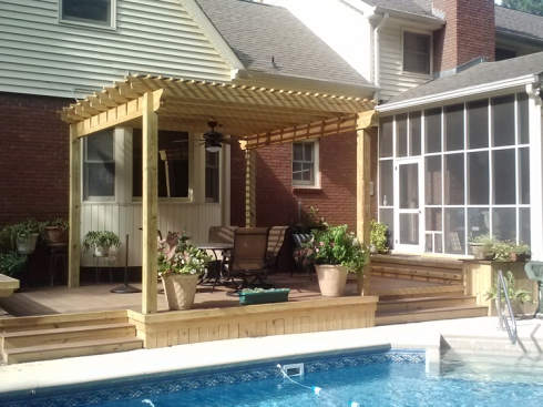 Wood Pergola with Deck for Swimming Pool by Archadeck