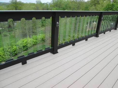 Capped Composite Decking, Composite Rails, Glass Balusters, by Archadeck in St. Louis