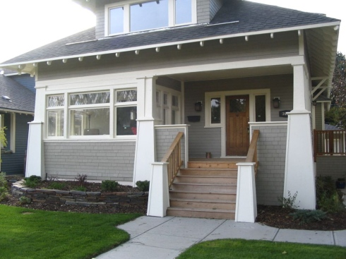 Craftman Style Front Porch Addition with Knee Wall Rails by Archadeck