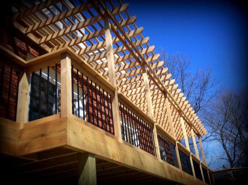 Elevated Cedar Deck with Pergola, by Archadeck in St. Louis
