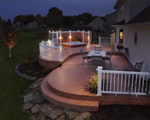 Low Level Deck with Level Change  and Lighting by Archadeck