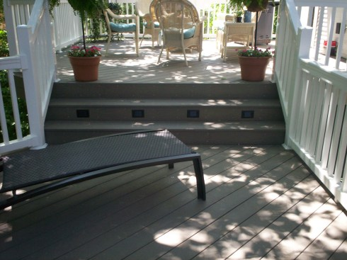 Low Maintenance Multilevel Deck with Wide Steps and Riser Lights, by Archadeck, St. Louis Mo