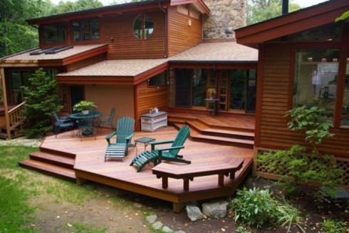 Low-to-Grade Hardwood Deck with a Level Change by  Archadeck