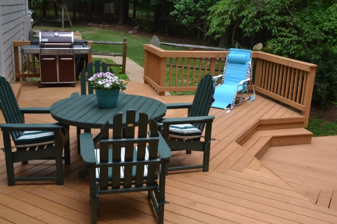 Multilevel Deck with Floor Board Pattern, Wide Steps and Partial Rails, by Archadeck