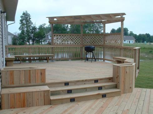 Multilevel Deck with Shade, Planters, Privacy and Seating, by Archadeck