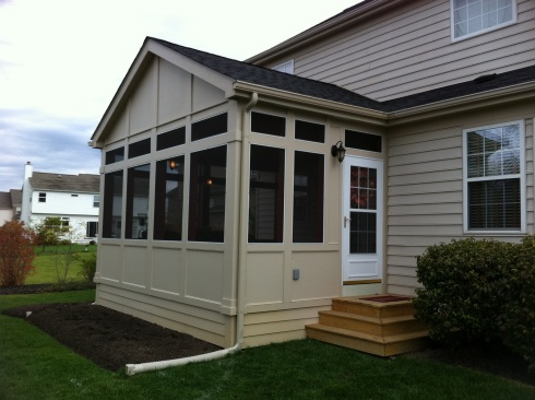 Porch with Solid Panel Knee Wall Rails by Archadeck