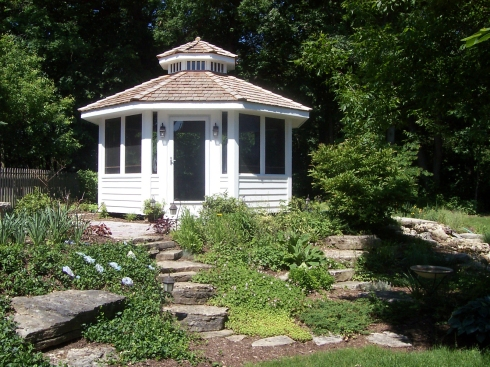 Traditional Garden Gazebo with Knee Wall Railing by Archadeck