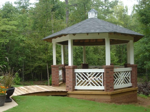 Updated Gazebo Design with Cross Pattern Knee Wall Rails by Archadeck