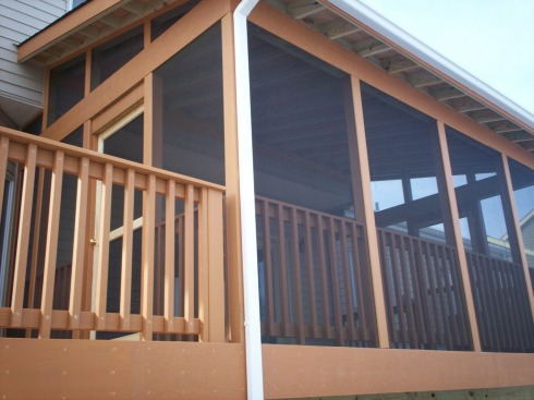 Screened in Deck with Shed Roof, Wall Tie-In, Exposed Rafters by Archadeck in St. Louis Mo