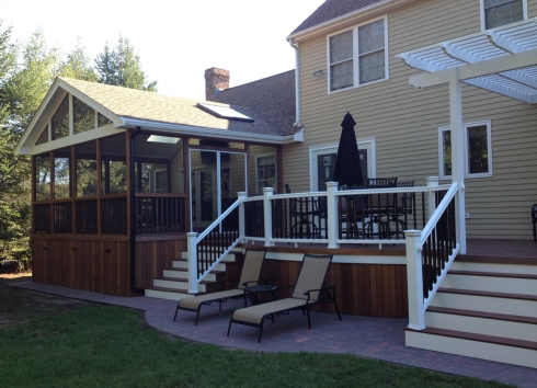 Screened-in Deck with Vaulted Ceiling, Enclosed Rafters and Skylights, by Archadeck