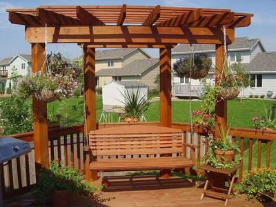 Corner Deck Fan Pergola with Swing by Archadeck