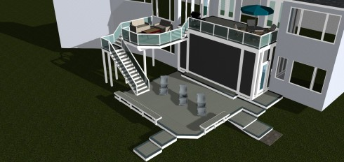Design Rendering for Large Outdoor Living Project with Multilevel Decks and Outdoor Room Enclosure, by Archadeck