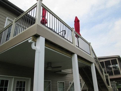 Low Maintenace Deck and Rails with Underdecking, Lighting and Post Covers,, by Archadeck in St. Louis Mo