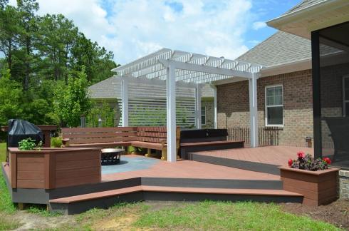 Partial Deck Pergola to Define Seating Area, by Archadeck