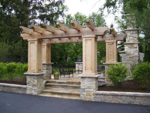 Pergola with Heavy Columns and Stonework by Archadeck