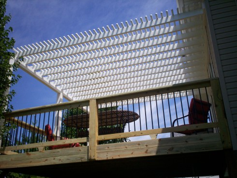 Pressure Treated Wood Deck with Vinyl Pergola in St. Louis Mo by Archadeck
