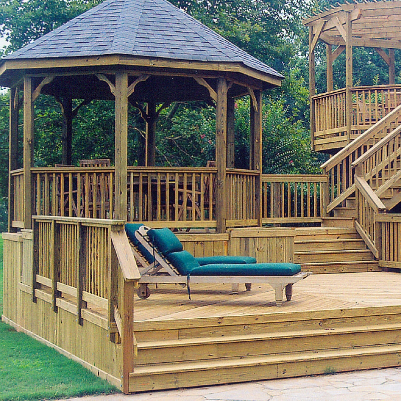 Wood hardwood decks st louis decks screened porches for Wooden balcony