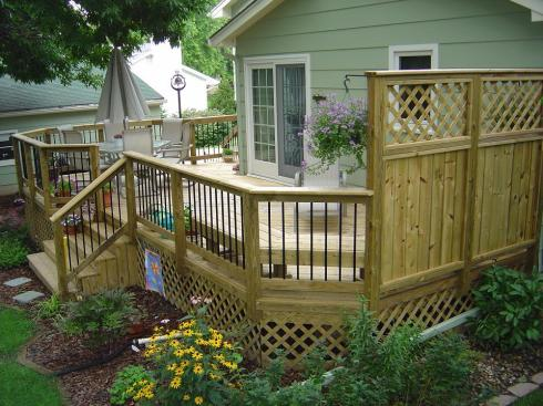 Wood Deck with Privacy Rail by Archadeck