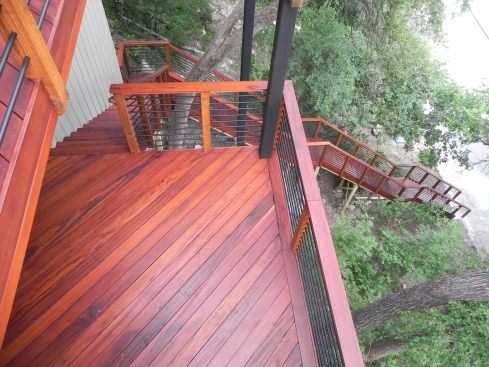 L-Shaped Deck Stairs with Landings by Archadeck