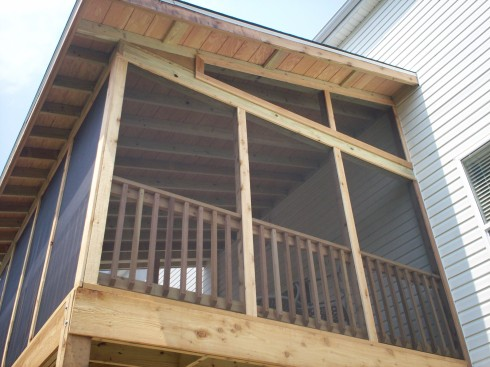Screen Porch with Exposed Rafter Ceiling and Shed Roof, St. Louis Mo, by Archadeck
