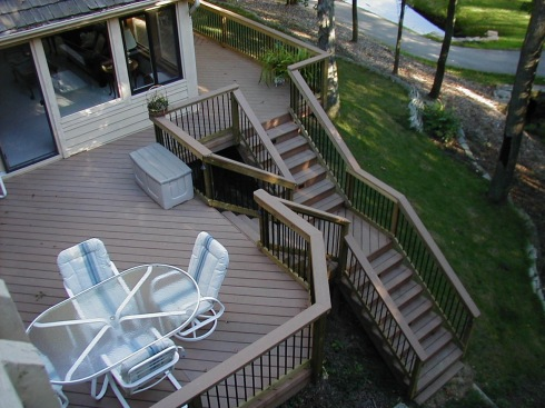 Straight Deck Stairs With Landings by Archadeck