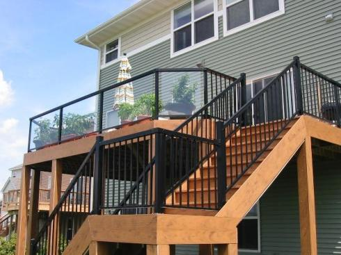 Black Metal Deck Rails with Glass Panel Inserts and Slender Pickets by Archadeck