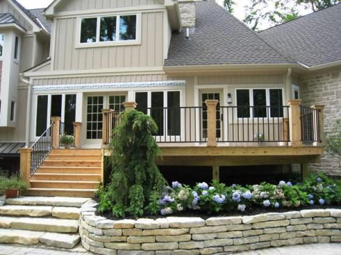 Cedar Deck with Fortress Iron Rails by Archadeck