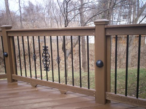 Composite Wood Deck and Rails, Metal Pickets with Baskets and Centerpiece, St. Louis Mo, by Archadeck