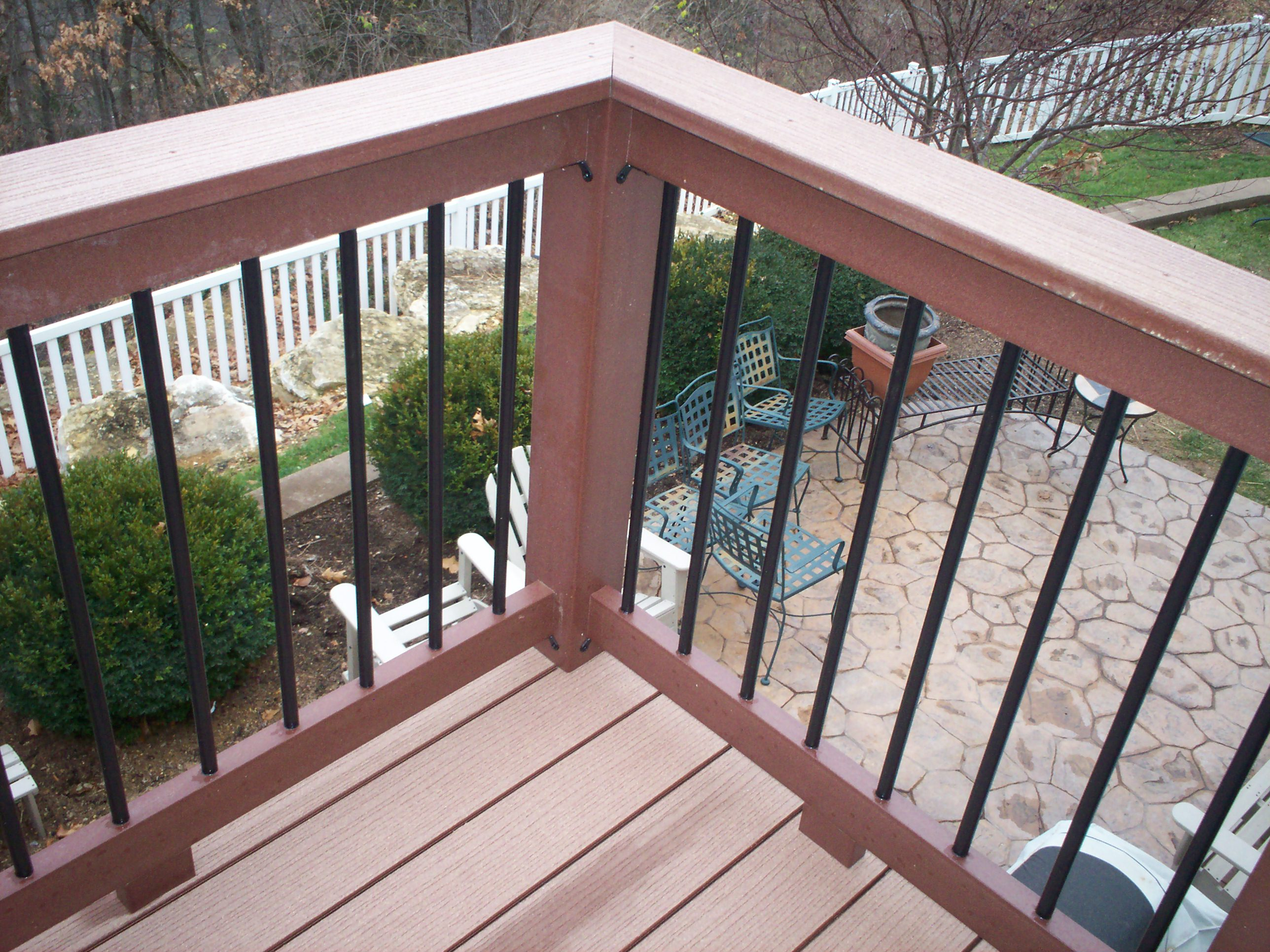 contemporary composite deck rails with metal balusters in st louis west county by archadeck - Deck Railing Design Ideas
