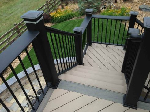 Deck Rails With Built-In Post Lights by Archadeck