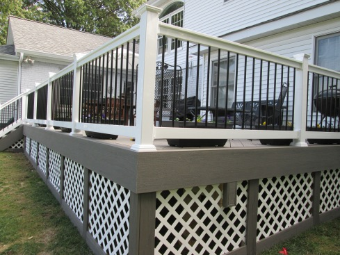 Gray Decking, White Rails, Black Metal Balusters, St. Louis Mo Project by Archadeck