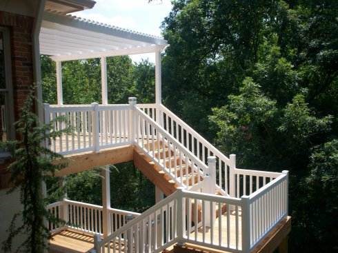 Two Story Deck with Post Covers and Post Cap Lights, St. Louis Mo, by Archadeck